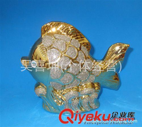 【陶瓷工艺品/陶瓷动物/陶瓷镀金动物/陶瓷电镀鱼