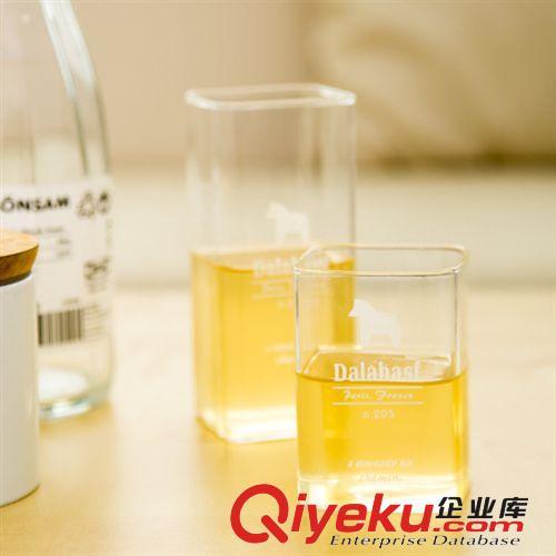 爆款 创意zakka韩式小清新手工玻璃方杯(矮款)图片