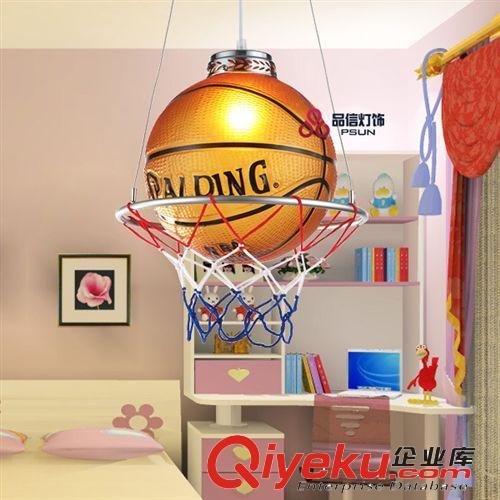 品信篮球灯单头玻璃个性创意圆球吊灯led儿童房书房卧室灯具6780转发