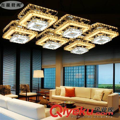 厂家客厅灯现代简约led吸顶灯水晶灯双层长方形卧室