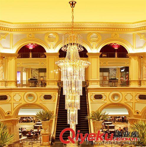 厂家批发 金色黄色大厅吊灯 别墅复式楼客厅水晶大吊灯 楼梯灯具图片