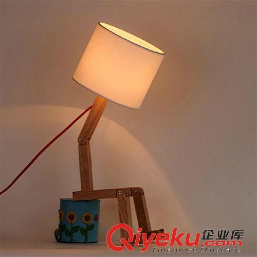 卧室床头台灯 个性木头实木质木艺台灯饰