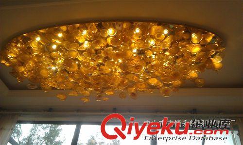 批发供应 别墅客厅楼梯圆形吸顶灯 创意荷花手工艺术玻璃吸顶灯
