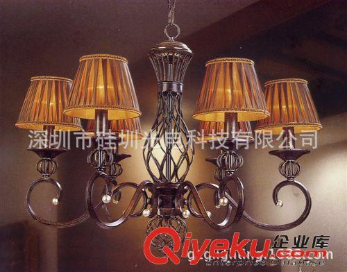 【欧式客厅吊灯铁艺布罩六头温馨仿古渴望特价卧室】