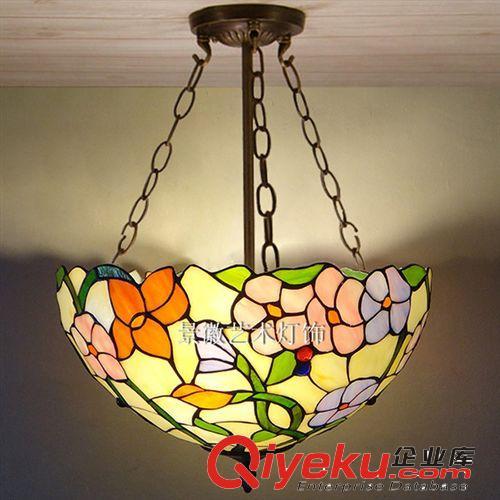 欧式吊灯田园复古蒂芙尼彩色玻璃客厅餐厅卧室厨房