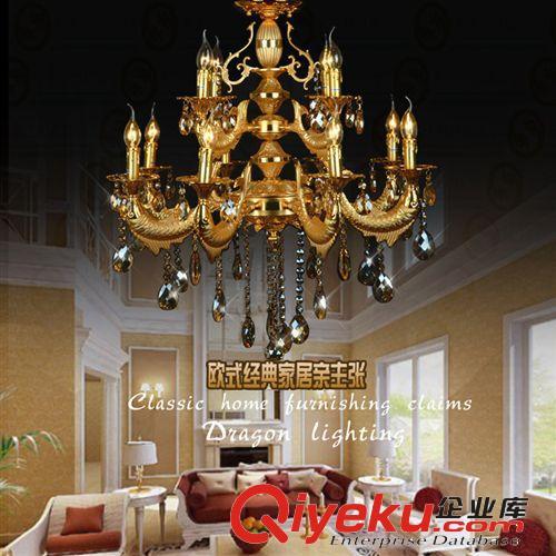 欧式豪华水晶吊灯 现代复式楼金色客厅餐厅灯锌合金蜡烛吊灯批发.