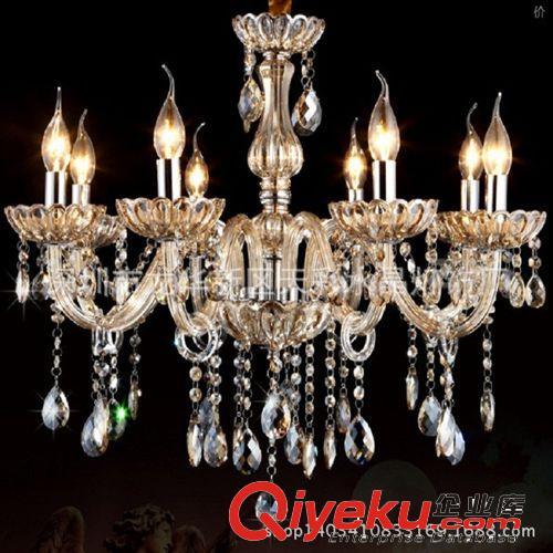 欧式水晶灯玉石水晶吊灯简欧客厅酒店水晶吊灯玉石水晶蜡烛灯包邮(图)