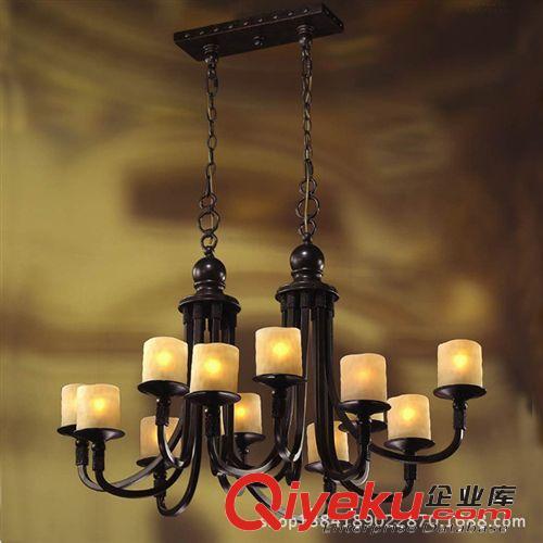 大吊灯哑光黑色长方形客厅灯欧式仿古餐厅酒店别墅灯