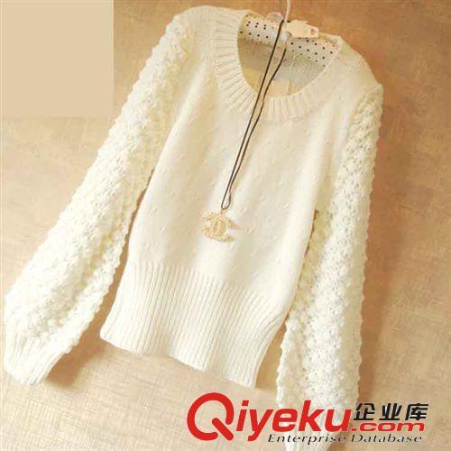 新款秋冬装日本snidel同款lena秀镂空菠萝花袖手工棒针套头毛衣