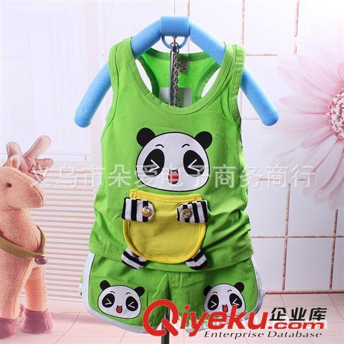 潮宝宝夏装套装2014小熊猫口袋套装背心+短裤套装 童装批发1-4岁