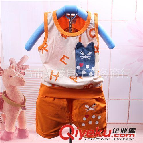 2014夏季新款 无袖背心短裤 宝宝猫咪套装 背心套批发