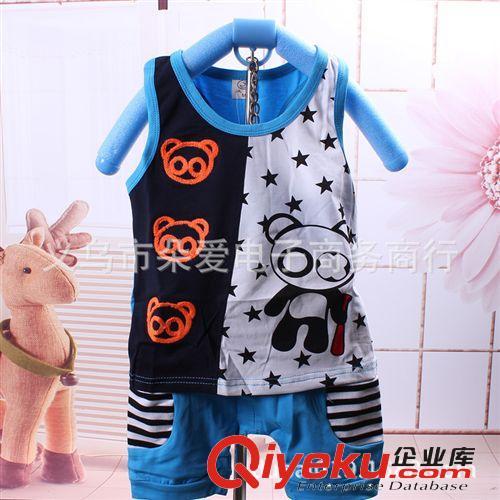 2014夏季新款 男女宝宝五角星小熊猫背+加短裤 两件套批发