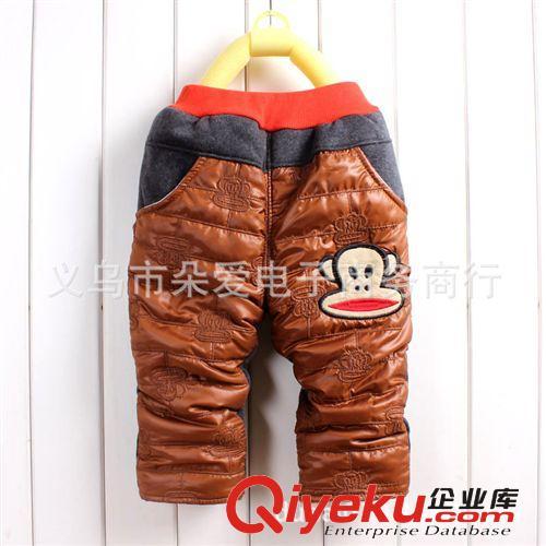 宝宝长裤加绒 2014秋冬新款 大嘴小猴子 羊羔绒加绒加厚长裤