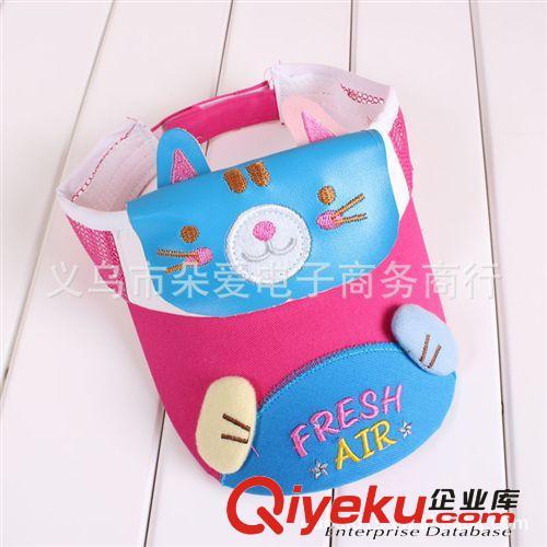 韩国新款小猫零钱包夏季宝宝大檐帽儿童空顶帽遮阳帽太阳帽