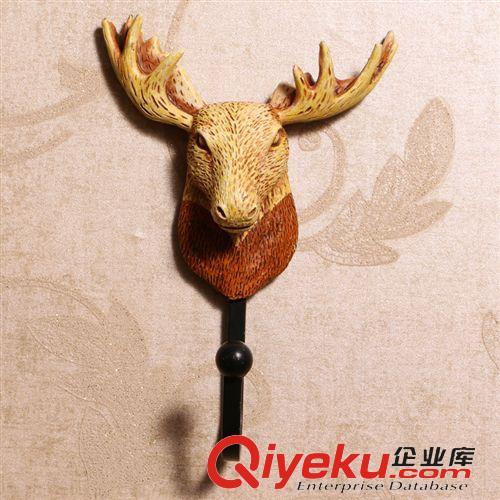 欧式美式复古树脂鹿头装饰挂钩衣帽钩