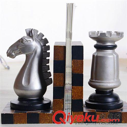 家居软装饰品原图 美式书挡 书靠   书立 欧式复古国际象棋书靠书房