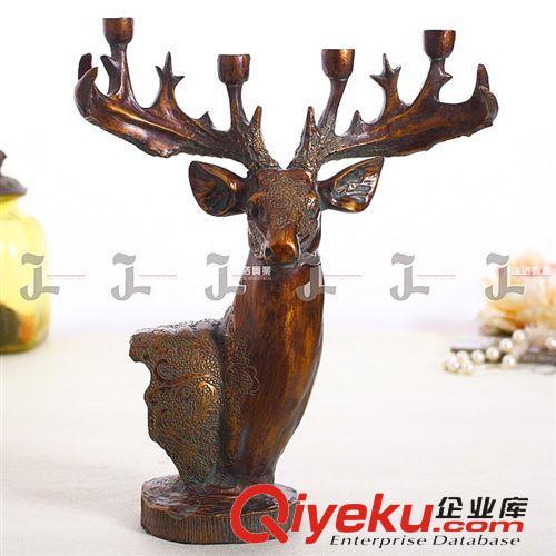 美式动物摆件 欧式高端鹿头烛台创意家居装饰品树脂工艺品摆件厂家