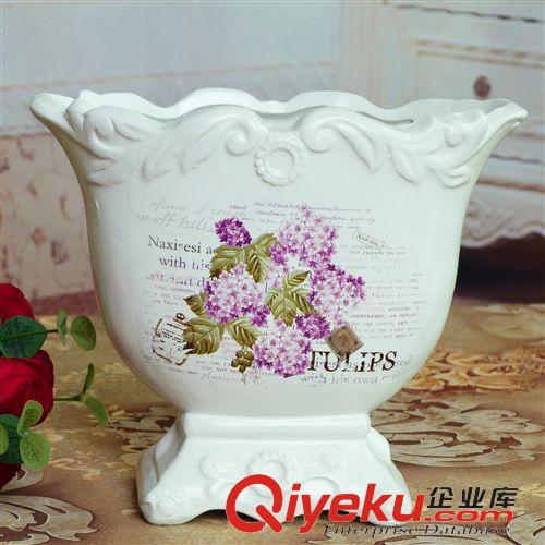 白色欧式陶瓷花盆