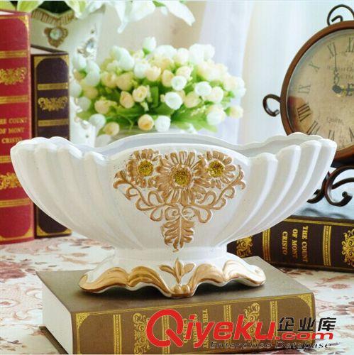 生产批发供应欧式经典白色描金船型花盆