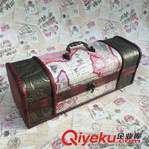 【欧中式红酒盒 促销地图纹仿古红酒礼盒单支装皮盒
