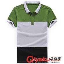 2014夏季T恤订做款 2014新款男士短袖T恤 翻领男 POLO衫 夏装韩版修身拼接短袖T恤