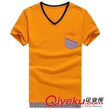 2014夏季T恤订做款 2014夏装新款男士T恤 韩版时尚v领纯色修身短袖T恤 3085