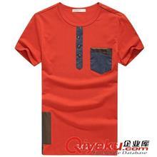 2014夏季T恤订做款 2014夏装新品男装T恤 男士圆领拼接短袖T恤 3084