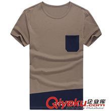 2014夏季T恤订做款 2014夏装新品澳黛尔棉男装T恤 男士圆领拼接修身短袖T恤
