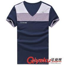 2014夏季T恤订做款 2014夏装纯棉新款男士T恤 男士时尚v领拼接修身短袖T恤 3086