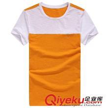 2014夏季T恤订做款 2014夏装新品男装 圆领拼接修身短袖T恤 3002