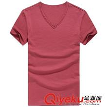 2014夏季T恤订做款 2014年夏装新款 多色高品质男士V领纯色全棉短袖T批发3001