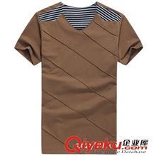 2014夏季T恤订做款 2014夏装新品短袖 V领条纹T恤男装韩版修身款3076