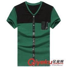 2014春夏T恤现货 时尚休闲 短袖2013经典必须爆款PU拼接长袖T恤 男款