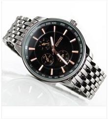石英表 时诺比全黑9268个性急速三圈男士手表 运动男表 手表 时装表**
