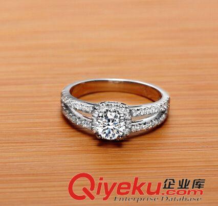 戒指 镶钻戒指 925纯银圆盘四爪钻戒 结婚订婚戒指