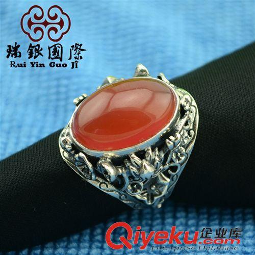 景泰蓝珐琅掐丝工艺 泰银戒指 镶嵌南红玛瑙 创意个性复古手饰 收藏
