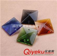 水晶散珠(灯饰、珠帘) 水晶四方珠  厂家直销22MM手工彩色方珠