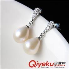 925纯银耳饰 纳福阁银饰批发 天然精品珍珠耳环 女款925银镶珍珠小水滴耳饰