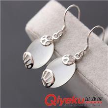 925纯银耳饰 纳福阁银饰批发 女士925纯银耳环 白猫眼石耳坠 复古纯银耳饰品