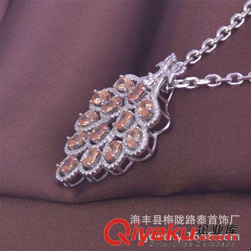 【十二月新品】 欧美时尚饰品 孔雀翎s925项链吊坠 宝石吊坠 满钻颈链
