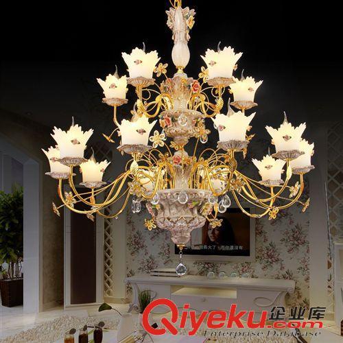 led水晶灯 简约田园欧式风格蜡烛水晶吊灯 餐厅卧室通用led吊灯厂家