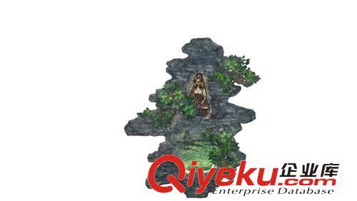 中式 假山流水喷泉水景/室内外山水景观 墙壁流水山水