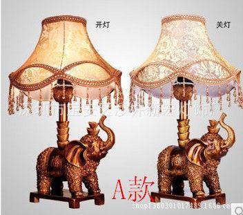 台灯 欧式仿古经典美式客厅卧室床头创意树脂大象布艺装饰台灯