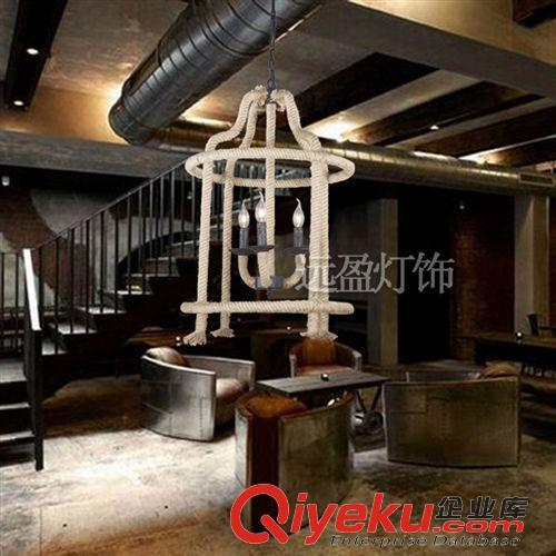 吊灯 美式灯具loft欧式复古创意个性简约工业餐厅吧台咖啡馆麻绳吊灯