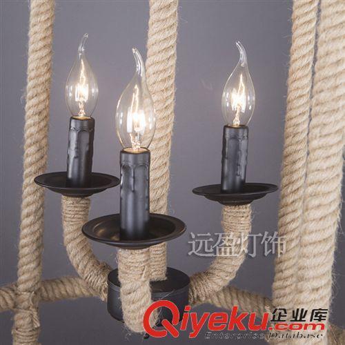 欧式复古创意个性简约工业餐厅吧台咖啡馆麻绳吊灯