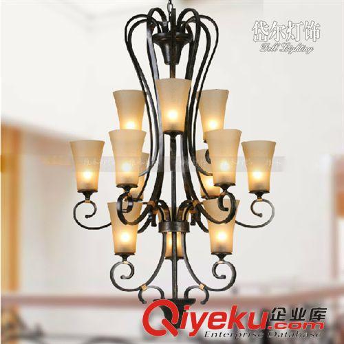 【三层大吊灯 美式灯具铁艺复古欧式三层工程别墅