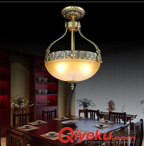 【欧式吊灯 欧式餐厅复古暖色玻璃反吊灯吊锅灯圆形