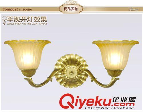 欧式壁灯 双头壁灯床头卧室田园客厅灯具简约创意土金