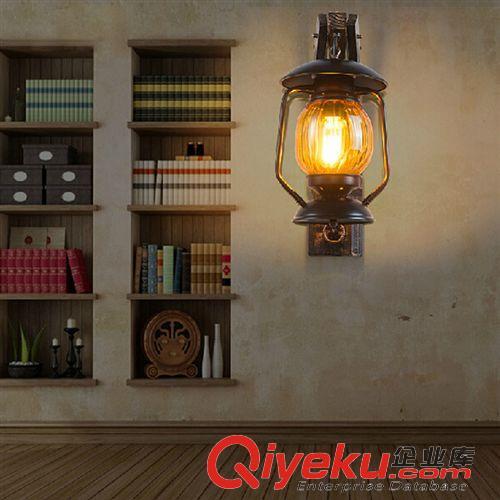壁灯 美式乡村仿古木艺壁灯 欧式田园创意复古马灯 卧室床头书房壁灯