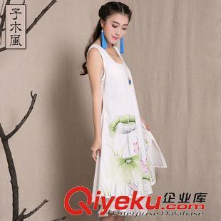 民族风系列 爆款中国风手绘女装宽松背心大摆长裙 文艺棉麻连衣裙